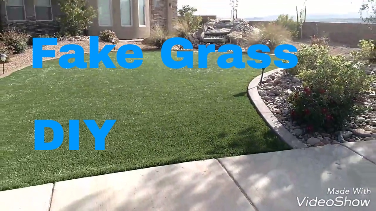 Diy Fake Grass Install Cheap And Easy Faux Grass With No